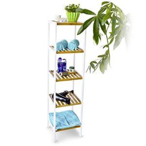 Badmöbel Weiß - Relaxdays 10017704 Wohnliches Regal Bambus mit 5 Ablagen ♥ braun/weiß