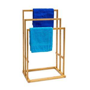 Schmale Regale fürs Bad - Edles Badregal aus Bambus mit 3 Handtuchablagen