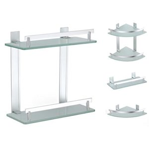Wandregale fürs Bad - Badablage  Wand-Glaskonsole Bad Glas Regal ♥  Bohren oder Kleben (Doppel Badregal)