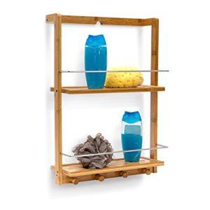 Schmales Regal Bad - Relaxdays 10019190 Duschregal Bambus mit 2 Ablageböden Duschablage aus feuchtigkeitsresistentem Holz ♥ natur