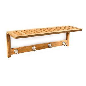 Bad Wandregal Holz - Relaxdays 10017154 Wandregal ♥ Bambus mit Hakenleiste und Handtuchhalter