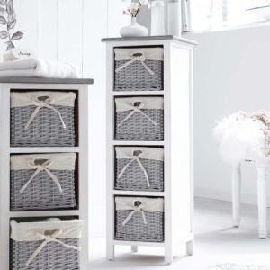 Badregale Weiß - Regal mit 4 Körben ♥ weiß-grau