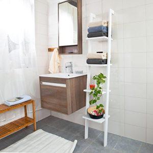 Badregale Weiß - SoBuy Modernes Leiterregal aus Holz mit vier Böden ♥ Standregal ♥ Weiß