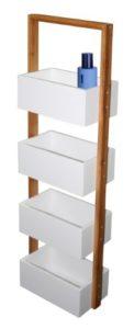 Badezimmerregal Weiß - Ablageständer Badezimmer Regal Korbregal mit 4 Ablagekörben Bambus weiß