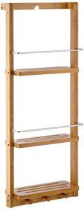 Schmales Regal Bad - Relaxdays Duschregal mit 3 Ablagen ♥ Regal zum Einhängen mit 3 Haken für Handtücher oder Lappen ♥ natur
