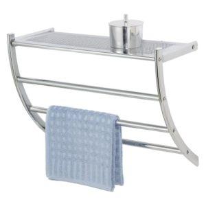 Badezimmer Wandregal - WENKO 15578100 Exclusiv Wandregal Pescara ♥  mit Handtuchhalter und Ablage ♥ Stahl ♥ Chrom