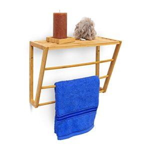 Bad Wandregal Holz - Relaxdays 10019193 Wandhandtuchhalter Bambus mit Ablage ♥ Handtuchhalter zur Wandmontage plus 3 Stangen ♥ natur