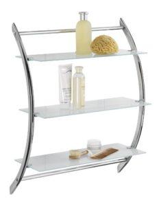Wandregal Badezimmer - WENKO 15895100 Wandregal Vermont Chrom mit 3 Glasablagen ♥  Badregal ♥ Stahl ♥  Chrom