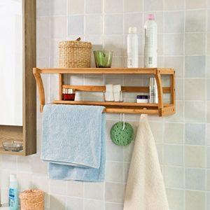 Wandregal Badezimmer - SoBuy Wandregal ♥ Mit Handtuchhalter ♥ Badregal zur Wandmontage mit Ablagen und 4 Haken aus Bambus