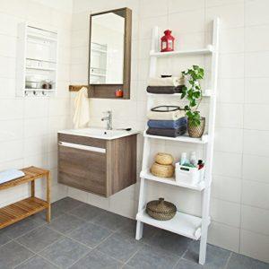 Badmöbel Weiß - Modernes Leiterregal mit fünf Böden ♥ Farbe in Weiß
